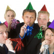 Group Of Business Wearing Party Favors — Stock Photo