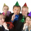 Group Of Business Wearing Party Favors - Stock Photo