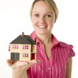 Businesswoman Holding Small House — Stock Photo