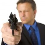 Businessman Pointing Hand Gun — Stock Photo