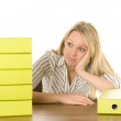 Stock Photo: BusinesswomWith Stack Of Folders