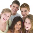 Five friends together smiling — Stock Photo #4781811