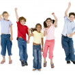 Five friends jumping and — Stock Photo #4781960