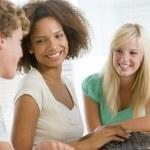 Teenagers Using Desktop Computer Together — Stock Photo