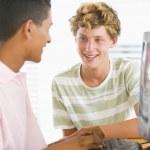 Teenage Boys Using Desktop Computer — Stock Photo