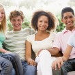 Group Of Teenagers Sitting On A Couch — Stock Photo