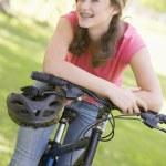 Teenage Girl On Bicycle — Stock Photo