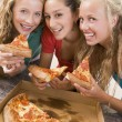 Teenage Girls Eating Pizza — Stock Photo