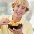 Teenage Boy Eating French Fries — Stock Photo