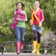 Pair Of Teenage Girls Jogging In Park — Stock Photo