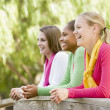 Teenage Girls Leaning On Wooden Railing — Stock Photo #4782436