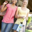 Teenage Girls Out Shopping — Stock Photo