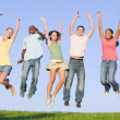 Portrait Of A Group Of Teenagers Jumping — Stock Photo