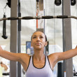 Woman Weight Training At Gym — Stock Photo
