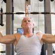 Man Weight Training At Gym — Stock Photo