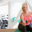 Woman Using Hand Weights On Swiss Ball At Gym — Stock Photo #4785360