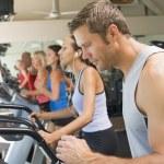 Man Running On Treadmill At Gym — Stock Photo