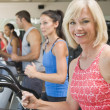 Woman Running On Treadmill At Gym — Stock Photo