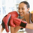 Stock Photo: Women Boxing Together At Gym