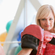 Woman Boxing With Personal Trainer At Gym — Stock Photo #4785414
