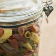 Jar Of Multi-Coloured Pasta — Stock Photo