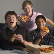 Teenagers Having Fun And Eating Pizza — Stock Photo #4785842