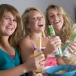 Stock Photo: Teenage Girls Enjoying Drinks