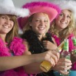 Dressed Up Teenage Girls Enjoying Drinks — Photo