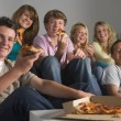 Teenagers Having Fun And Eating Pizza — Stock Photo #4785859