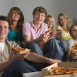 Teenagers Having Fun And Eating Pizza — Stock Photo #4785861