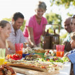 Family Dining Al Fresco — Foto Stock
