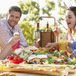 Al Fresco,Eating,Family,Food,Happy,Smiling,Man,Woman,Boy,Girl,Sa — Stock Photo