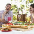 Family Dining Al Fresco - Foto Stock
