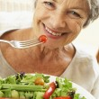 Senior Woman Eating Healthy Salad — Stock Photo #4787234