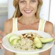 Mid Adult Woman Holding Plate With Healthy Foods — Stock Photo