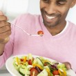 Middle Aged Man Eating Healthy Salad — Stock Photo #4787329
