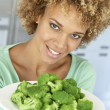 Mid Adult Woman Holding A Plate Of Broccoli, Smiling At The Came — Stock Photo #4787632