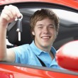 Teenage Boy Sitting In Car Holding Car Keys — Stock Photo