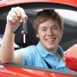Teenage Boy Sitting In Car Holding Car Keys — Stock Photo #4787648