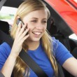 Teenage Girl Sitting In Car Talking On Cellphone - Stock Photo