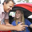 Teenage Girl Learning How To Drive — Foto Stock