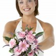 Portrait Of Bride Holding Bouquet Of Flowers — Stock Photo