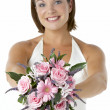 Stock Photo: Portrait Of Bride Holding Bouquet Of Flowers