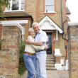 Man, Woman, My House, Couple, Front Yard, Happy, House, Home, La — Stock Photo