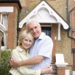 Man, Woman, My House, Couple, Hugging, House, Entrance, Front Ya — Stock Photo