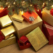 Christmas Presents Under Tree — Stock fotografie