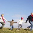 Grandparents And Grandchildren Running In The Park — Stock Photo #4788650