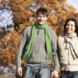 young couple walking im park hand in hand — Stockfoto