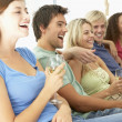 Friends Watching Television Together — Stock Photo