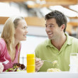 Couple Having Lunch At The Mall — Stock Photo